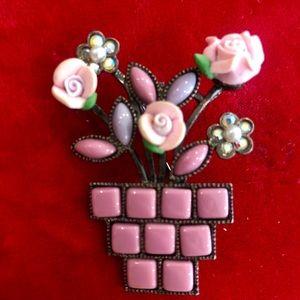 Flowers in a flower pot brooch